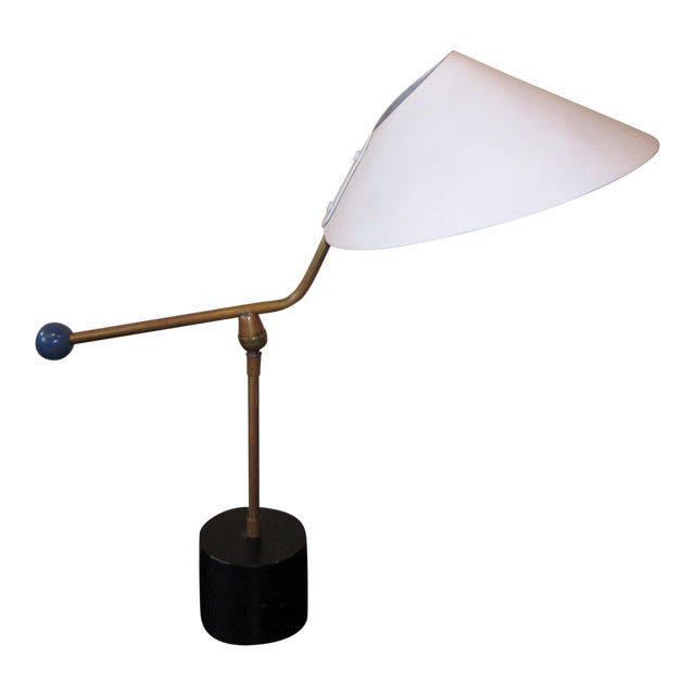 1950s Angular French Modernist Counterweight White UFO Shade Desk Lamp For Sale