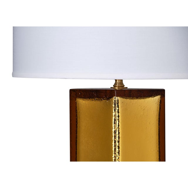 Italian Gold Leaf and Amber Murano Glass Lamps For Sale - Image 3 of 10