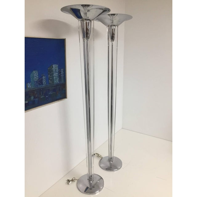 Mid-Century Modern Chrome and Lucite Torchiere Floor Lamps - a Pair For Sale - Image 4 of 10