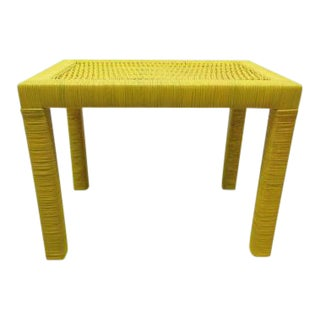 Drexel Yellow Wicker Side Table