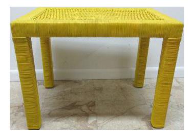 Drexel Yellow Wicker Side Table