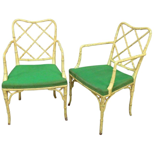 Pair of Faux Bamboo Armchairs For Sale