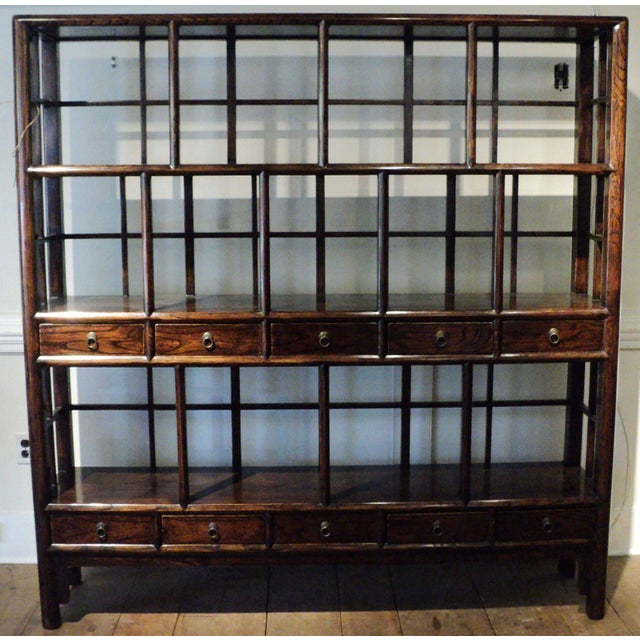 Large Antique Chinese Solid Wood Multi Drawer Etagere - Image 2 of 11