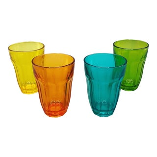 Mid Century Multicolored Stem Glass Set of 4 For Sale