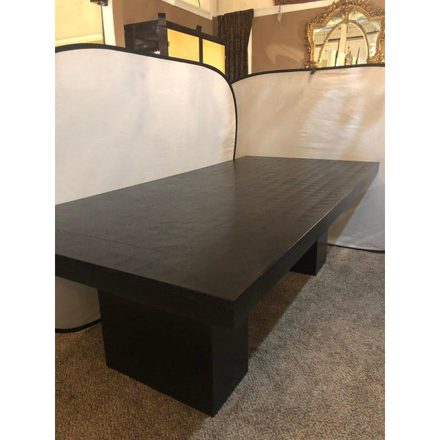 2010s Hollywood Regency Style Ebonized Oak Dining Table and Two Leaves For Sale - Image 5 of 13