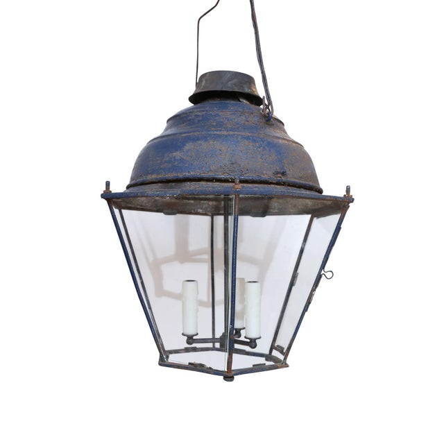 Large Late 19th Century Blue-Painted Lantern For Sale - Image 11 of 11