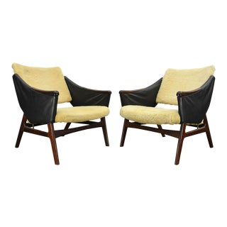 Pair of Rosewood + Sheep Skin Lounge Chairs For Sale
