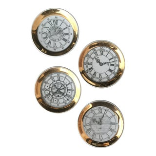 Vintage Gold Edge Bucciarelli Clock Coasters - Set of 4 For Sale