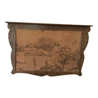 1800's-1900's in Carved Frame & Shelf Old Tapestry