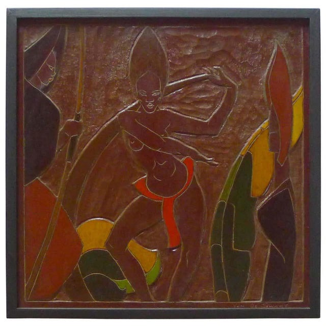 Brown Africana Tribal Relief Panel Art Signed Jan De Swart For Sale - Image 8 of 8