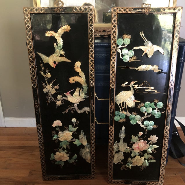 Asian Black Lacquer Wall Panels With Mother of Pearl - a Pair For Sale In New York - Image 6 of 6