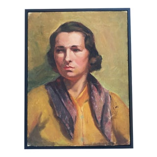 1940s Portrait of Lady in Yellow For Sale