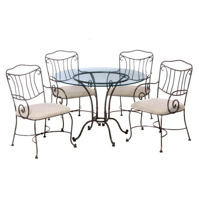 Late 20th Century Vintage Chromcraft Wrought Metal and Glass Dining Set - 5 Pieces For Sale - Image 5 of 5