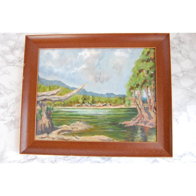 Vintage Lakeside Original Oil on Canvas Painting For Sale - Image 10 of 10