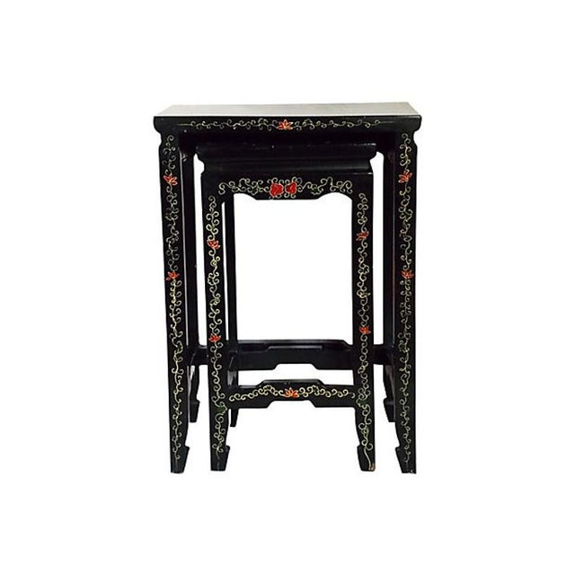 Lacquer 1970s Asian Lacquered Nesting Tables - a Pair For Sale - Image 7 of 8