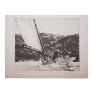 "1930s Vintage Black & White Lithograph ""The Catboat"" by Edward Hopper"
