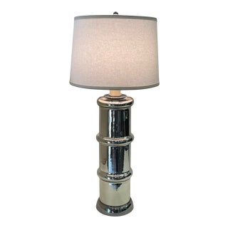 Mid-Century Modern Mercury Glass Faux Bamboo Table Lamp For Sale
