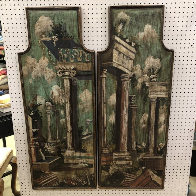 Vintage Mid Century Hand Painted Classical Ruins Panels- A Pair For Sale - Image 10 of 10