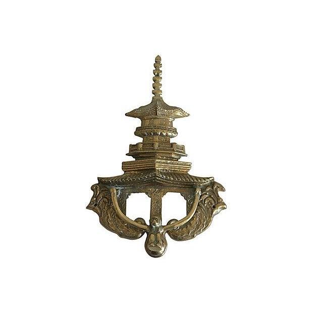 Metal Oversize Pagoda & Monkey Door Knocker For Sale - Image 7 of 9