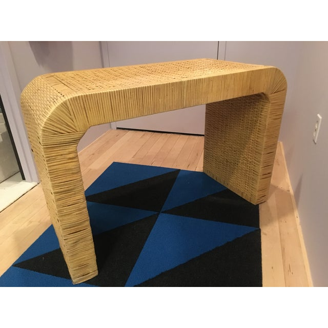 1970s Minimalist Coastal-Style Rattan Console Table For Sale - Image 5 of 12