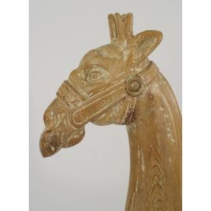 Americana 20th Century American carousel style stripped pine large giraffe figure with gold trim and wearing a saddle For Sale - Image 3 of 5