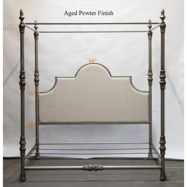 Swede Collection Swede Collection King Metal Bed With Crown Canopy For Sale - Image 4 of 6