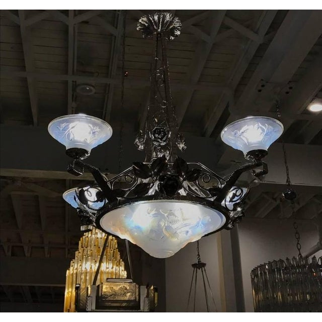 P. Maynadier Signed French Art Deco Chandelier For Sale - Image 9 of 10