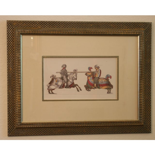 Jousting Knights Framed Ink Watercolor Giclee Print For Sale In West Palm - Image 6 of 6