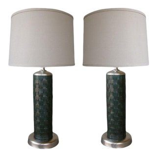 1940's American Cylindrical-Form Leather-Clad Lamps - a Pair For Sale
