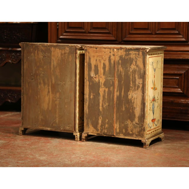 19th Century Italian Carved Chests of Drawers With Bird Painted Decor - a Pair For Sale - Image 12 of 13