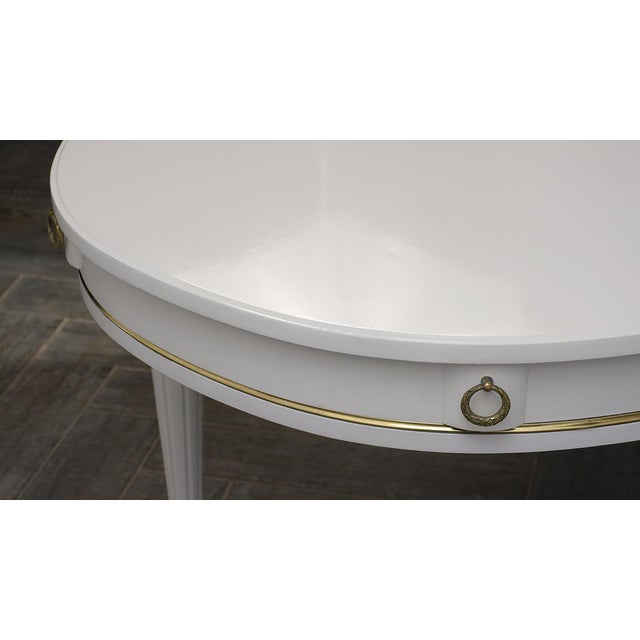 1960s Traditional French Lacquered Louis XVI Style Oval Dining Table For Sale - Image 5 of 10