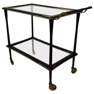 1950s Mahogany Bar Trolley by Cesare Lacca, Italy For Sale