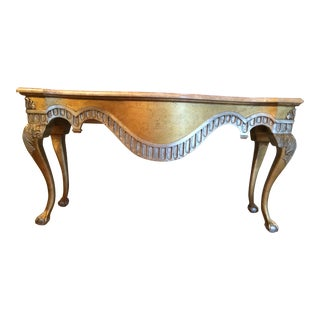 Century Brand Furniture Marble Top Wood Base With Mixed Metal Paint For Sale