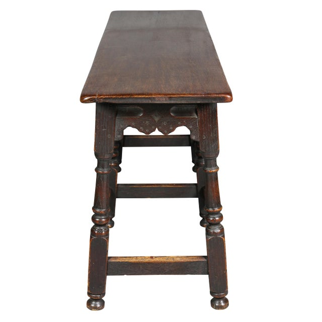 Wood Jacobean Style Oak Bench For Sale - Image 7 of 10