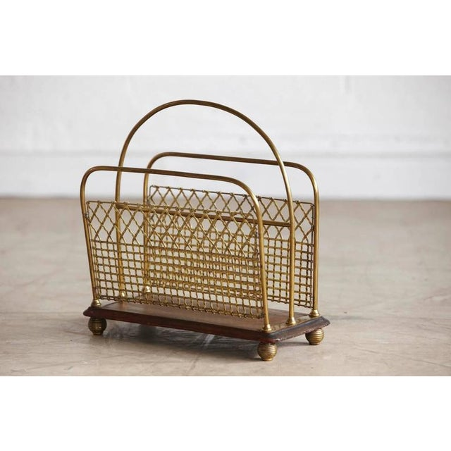 Late 19th Century 19th Century Aesthetic Movement Woven Brass Canterbury For Sale - Image 5 of 8