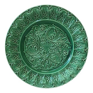 1880 Green Majolica Acanthus Leaves Plate For Sale