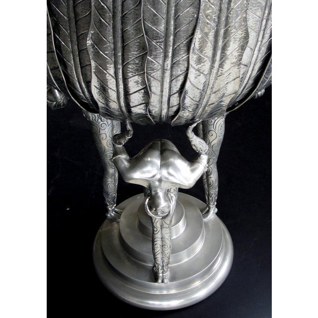 A Stunningly Large Italian Art Deco Style Piero Figura Pewter Centerpiece Stamped 'Figura Piero Per Atena, Etain 95% For Sale In San Francisco - Image 6 of 9