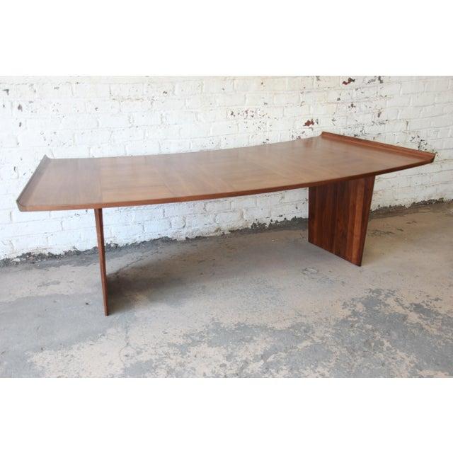 Excellent Curved Top Walnut Harvey Probber Executive Desk For Sale - Image 9 of 14