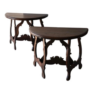 Pair of Italian Console Tables For Sale