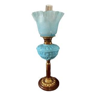 Late 19th Century Duplex Blue Opaline Oil Lamp For Sale