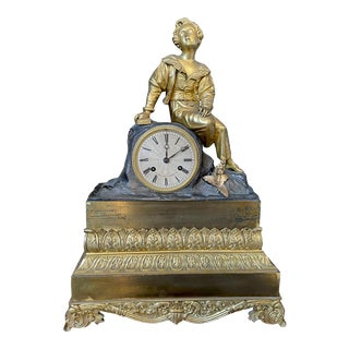 Large Antique Early 19th Century French Gilt Bronze Statue Clock by Gilliot A Paris For Sale