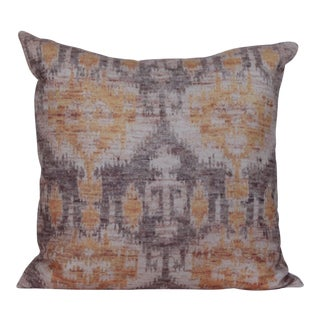 Large Ikat Yellow Print Pillow-18'' For Sale