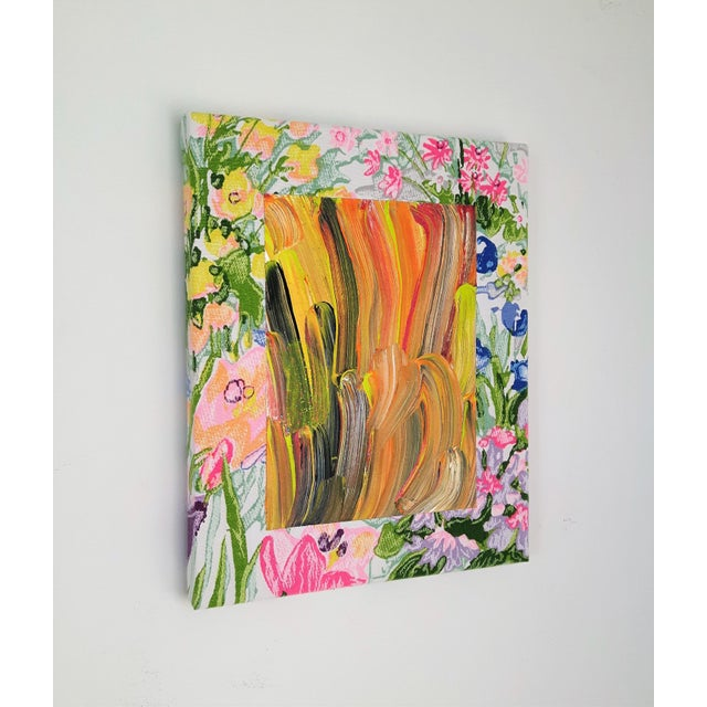 """Abstract Contemporary Abstract Floral Acrylic on Vintage Textile by Frances Sousa, """"Harley, David, Jean"""" For Sale - Image 3 of 9"""