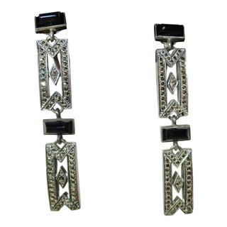 Art Deco Austrian Sterling and Marcasite Onyx Earrings For Sale