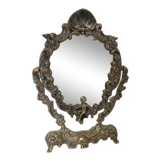 Vintage Silverplate Cherub Vanity Mirror