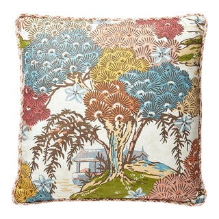 Sea of Trees Pillow with Trim in Sunrise For Sale