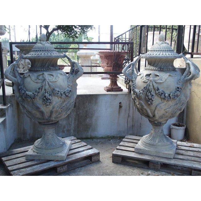 Gray Stunning Pair of Cast Grey Stone Urns from the Margam Park Originals For Sale - Image 8 of 10