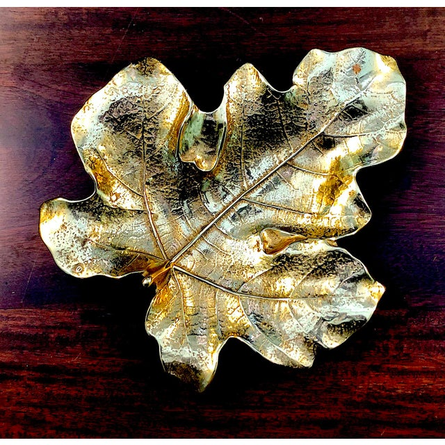 Brass 1940s Virginia Metal Crafters Brass Fig Leaf Tray For Sale - Image 8 of 8