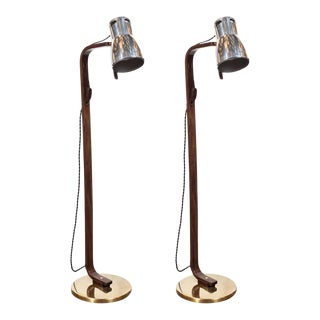 Walnut, Aluminum & Brass Articulating Floor Lamps by Hans-Agne Jakobsson - a Pair For Sale