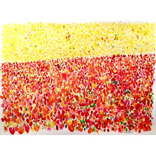 Tulip Fields Woodland. Original Watercolor Painting For Sale
